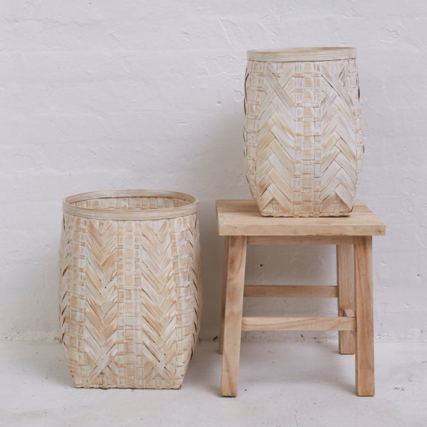Tulsa Whitewash Bamboo Basket