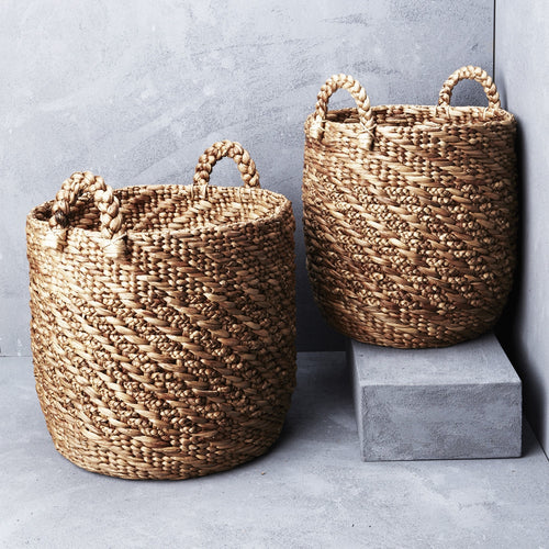 Twisted waterhycanith basket with twill pattern - Whatever Mudgee Gifts & Homewares