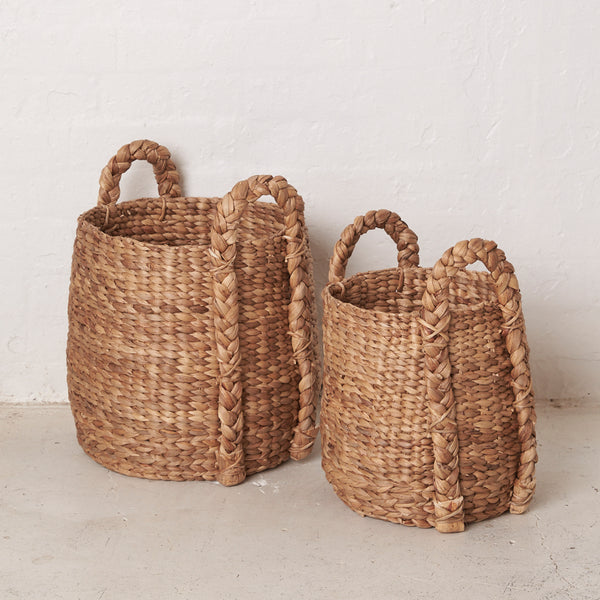 Bayyan Waterhyacinth with Outside Handles Basket