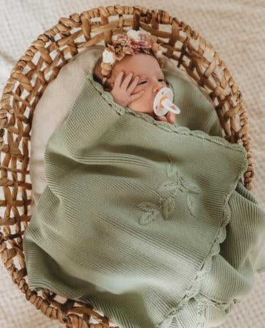 Heirloom Embroidered Blanket | Pistachio | Pop Ya Tot