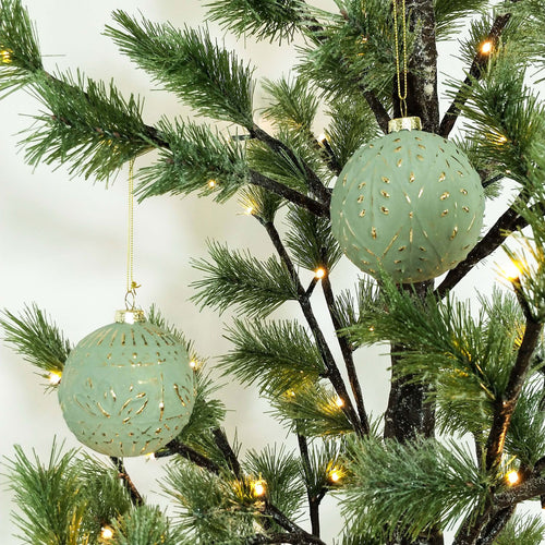 Glass Embossed Bauble | Sage | Hanging Decoration