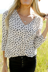 Beatrice Button Blouse in Pale Pink