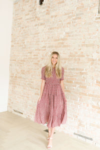 Charlotte Smocked Dress in Burgundy