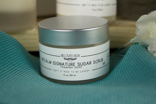 becalm sugar scrub, be calm body foaming sugar scrub, becalm patchouli scrub, sugar scrub becalm, becalm foaming soap
