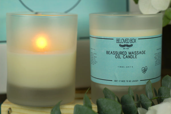 be assured massage oil candle, beassured massage oil candle, peppermint massage oil candle, mint massage oil candle, eucalyptus massage oil candle, massage oil candle, beloved box massage oil candle, beassured beloved box massage oil candle