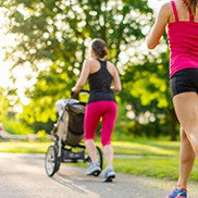 mother running with jogging stroller