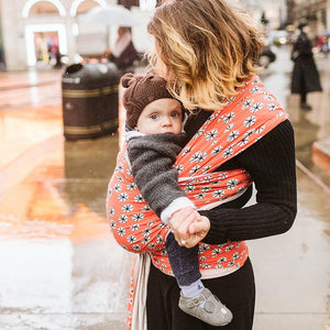 Mother wearing baby in Boba Bamboo Etoile Infant Wrap Baby Carrier