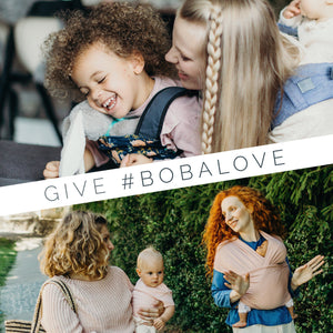 "Text ""Give #BobaLove"" on top of two photos of babywearing moms and their kids"