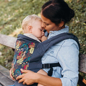 Mother wearing baby in 4GS Mermaid and Unicorn Soft Structured Boba Baby Carrier.