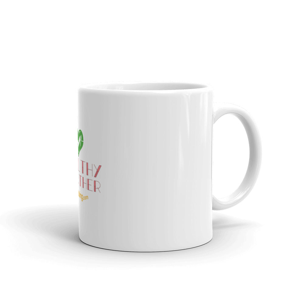 """White Glossy Mug"" - Healthy Breather - Breathing.com"