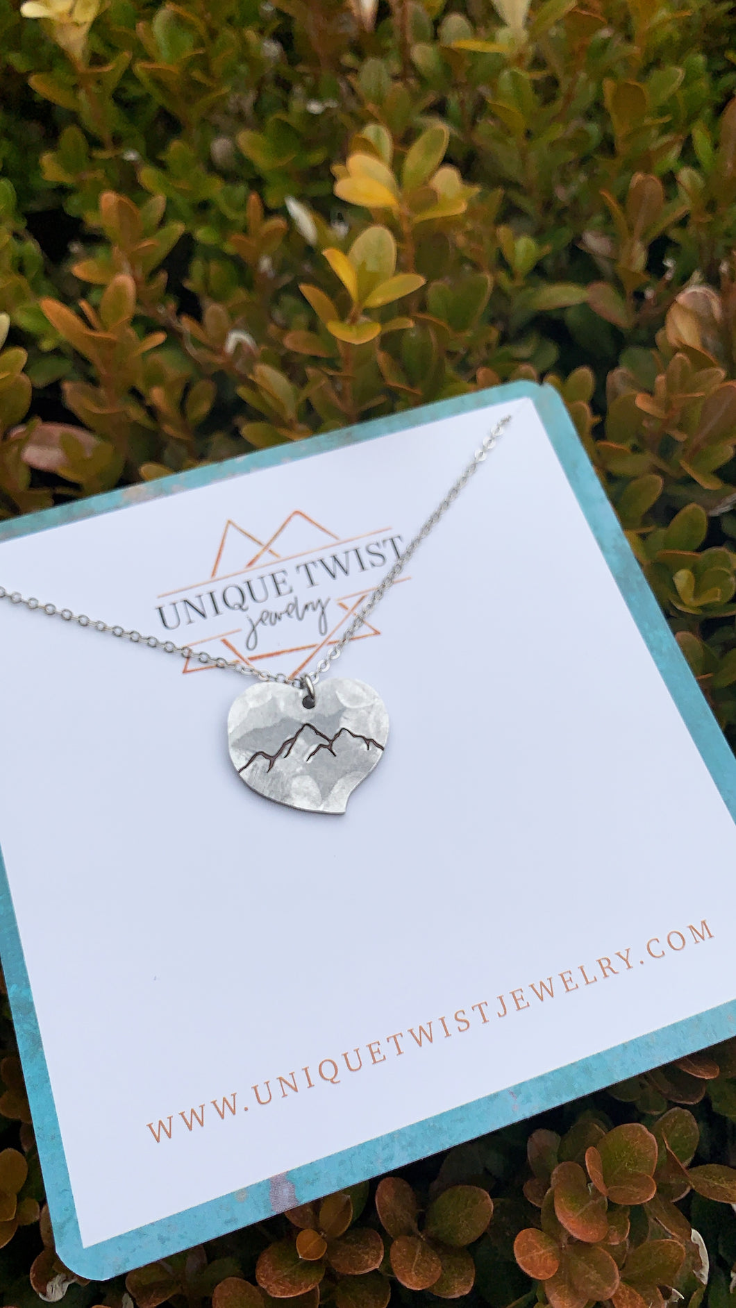 Mountain Love Hand-Stamped Necklace. Handmade jewelry by Unique Twist Jewelry.