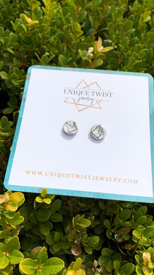 Idahomie Hand-Stamped Earring Studs. Handmade jewelry by Unique Twist Jewelry.