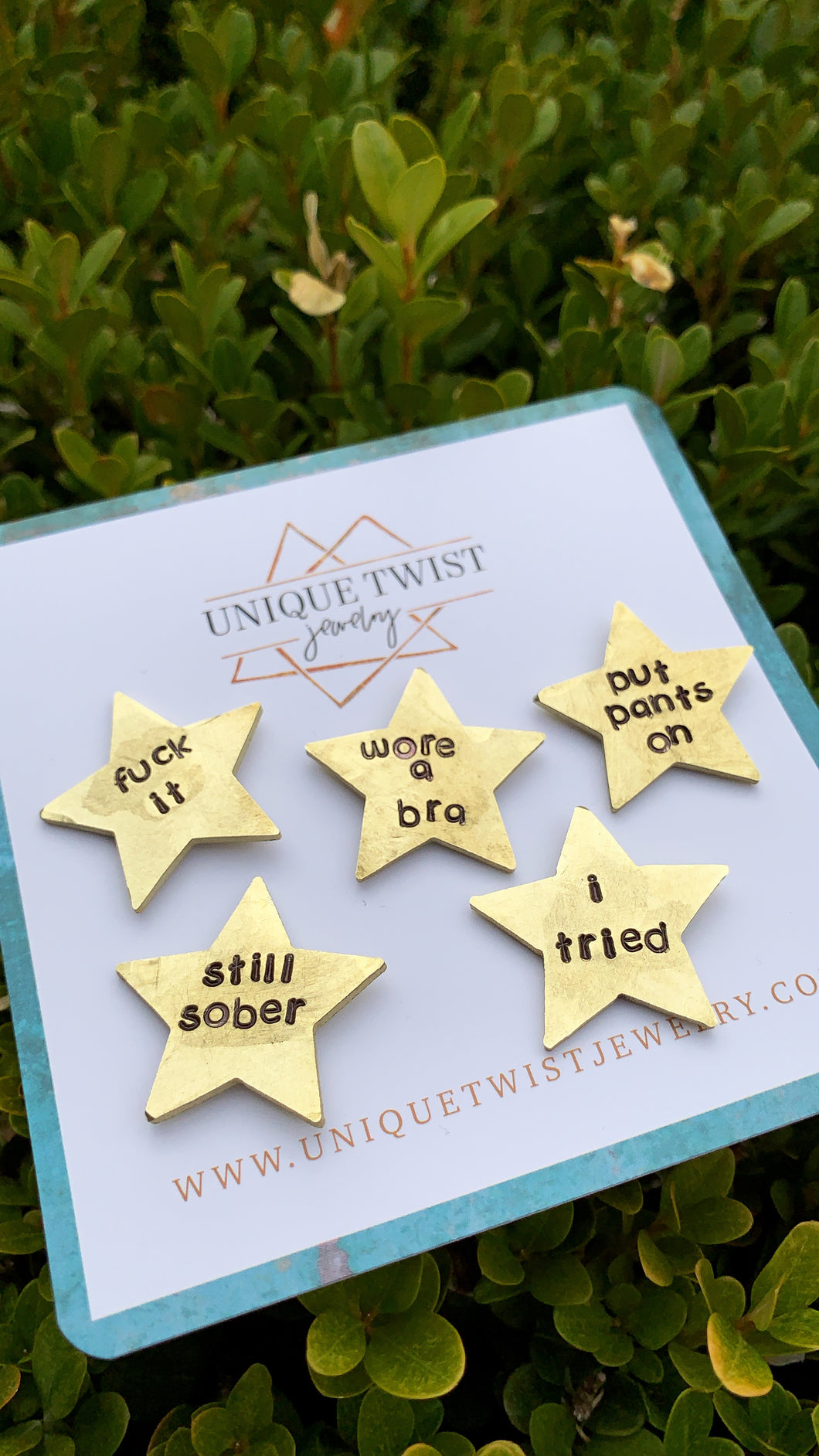 Adulting Hand-Stamped Gold Stars. Handmade fashion accessories by Unique Twist Jewelry.