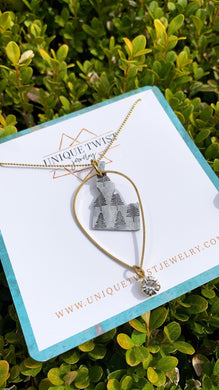 State Gypsy Necklace with Trees hand-stamped on state pendent of your choice. Idaho. Handmade jewelry by Unique Twist Jewelry.