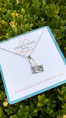 Idaho Perrine Hand-Stamped Necklace with Southern Idaho's Snake River Canyon. Handmade jewelry by Unique Twist Jewelry.
