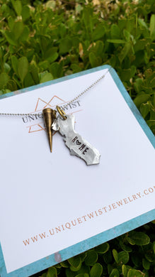 Fierce Hand-Stamped State Necklace with