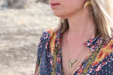 Forest on the state of your choice hand-stamped necklace. Handmade jewelry by Unique Twist Jewelry.