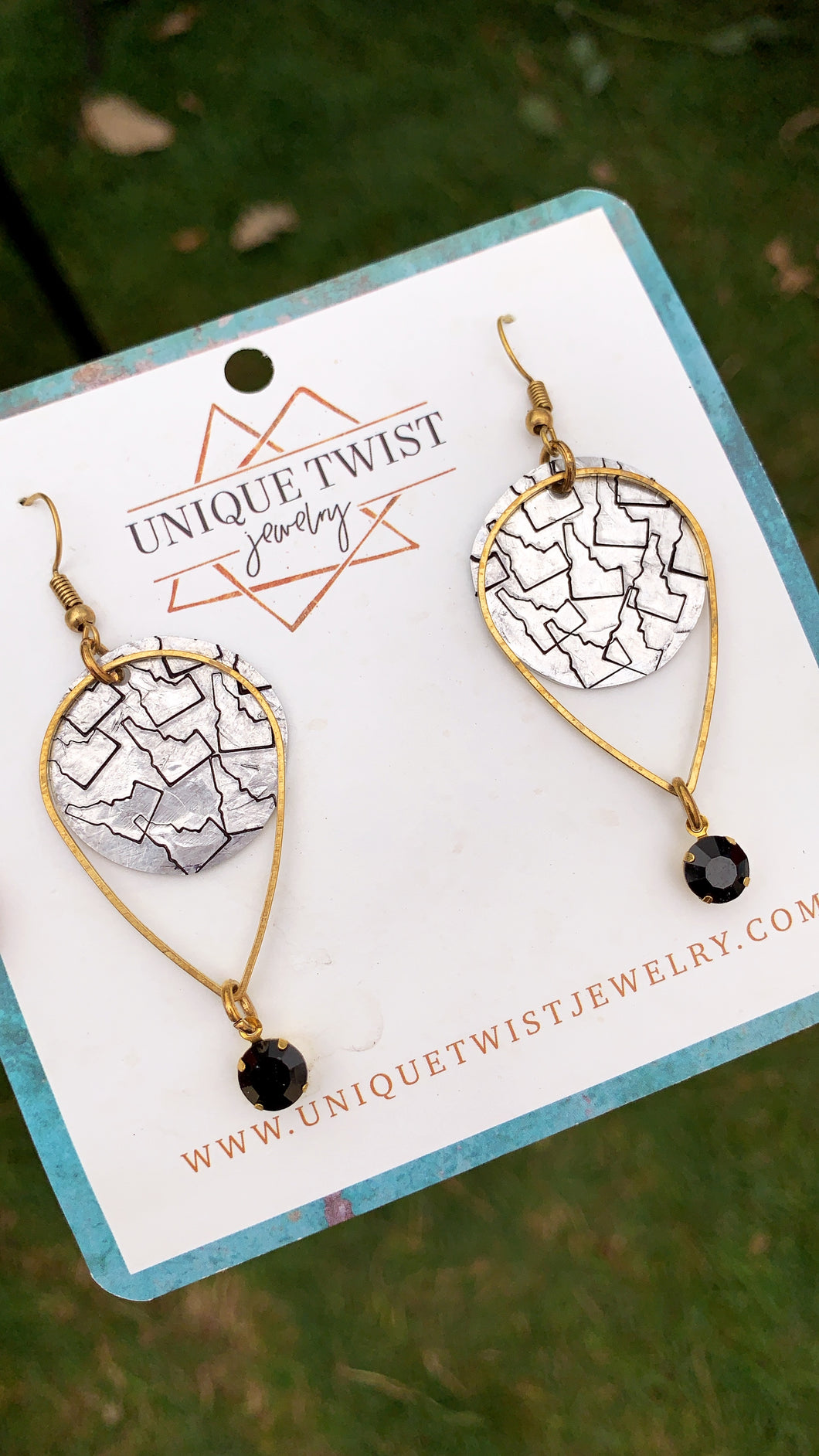Idaho Way Hand-Stamped Earrings. Handmade jewelry by Unique Twist Jewelry.
