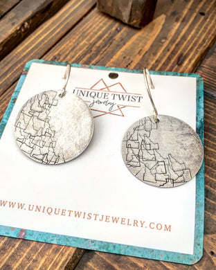 Idaho Wild Hand-Stamped Earrings. Handmade jewelry by Unique Twist Jewelry.