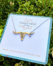 """Take no bull"" Hand-Stamped Long horn necklace. Handmade jewelry by Unique Twist Jewelry."