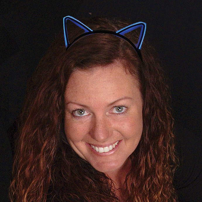 Lighted cat ears headband LED solid