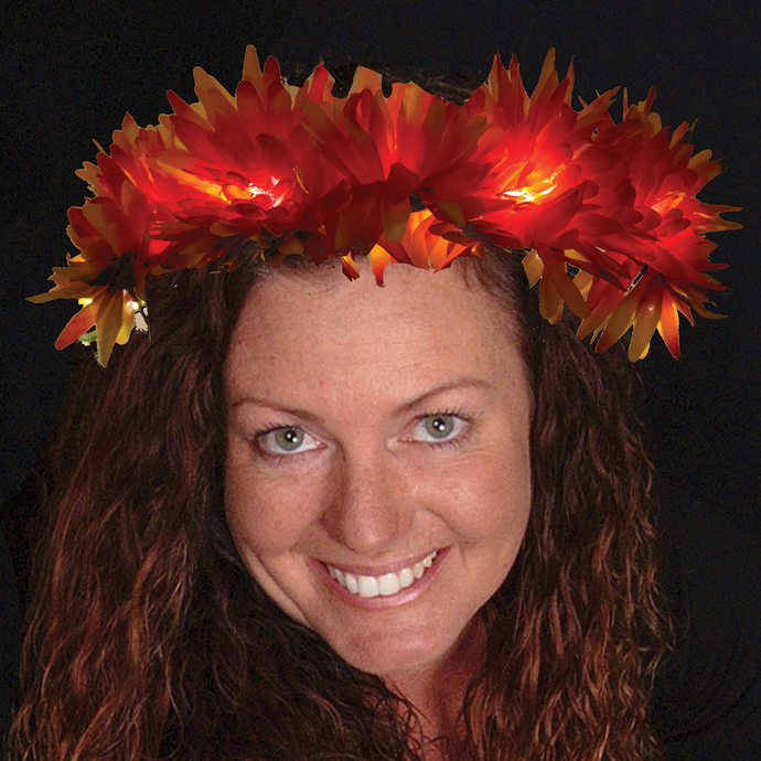 Lighted Floral Halloween Autumn Bouquet Headband Orange