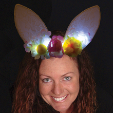 Lighted Ears White with Flowers