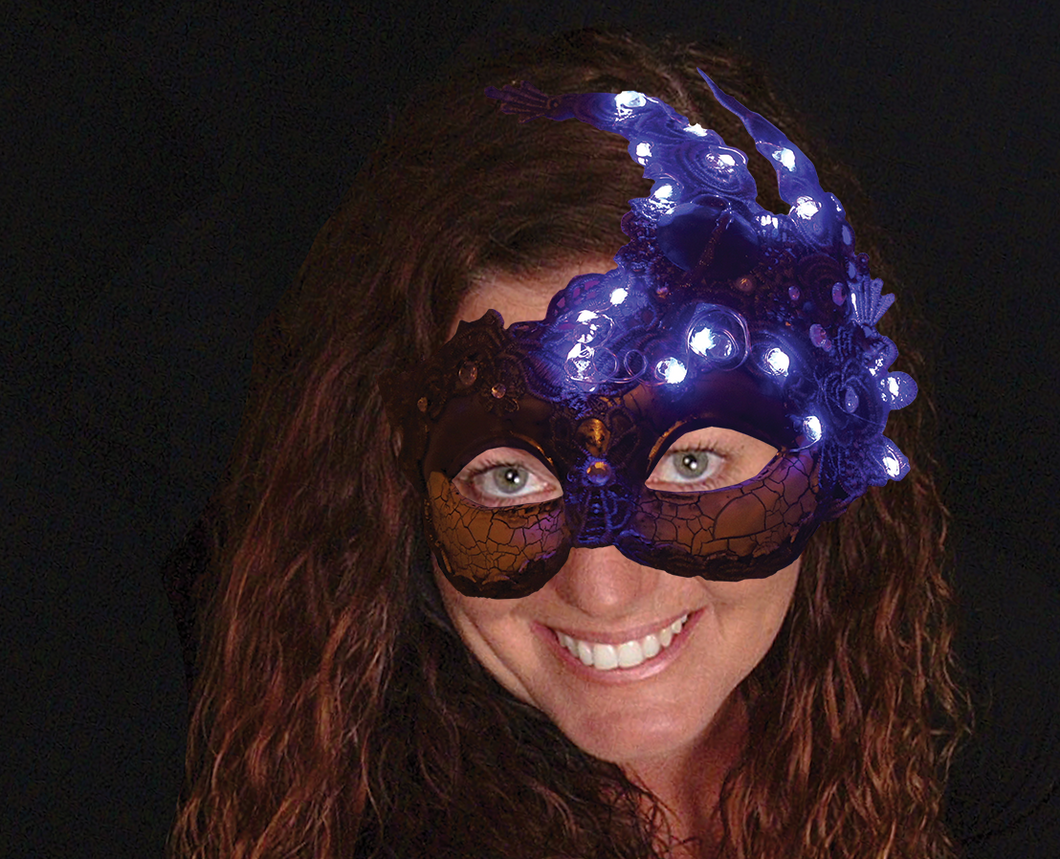 Lighted moonscape masquerade mask