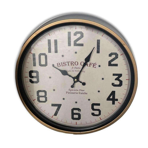Wall Clock Bistro Cafe 29cm Black | Clocks | The Design Store NZ