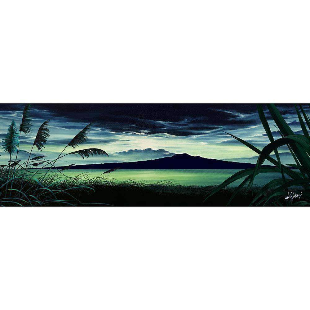 Glass Art Moonlit Rangitoto | Wall Art | The Design Store NZ