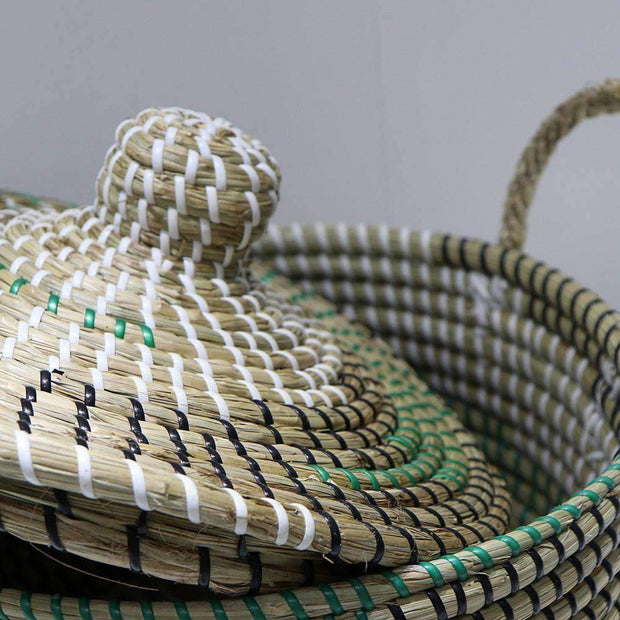Mekong Seagrass Basket With Lid 30cm | Storage | The Design Store NZ