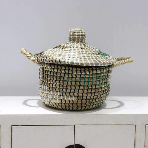 Mekong Seagrass Basket With Lid 25cm | Storage Baskets | The Design Store NZ