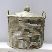 Mekong Seagrass Laundry Hamper With Lid 40cm | Laundry Baskets | The Design Store NZ