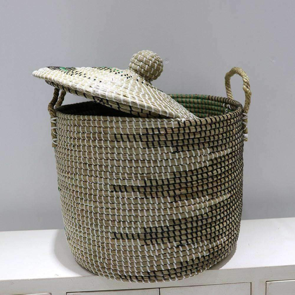 Mekong Seagrass Laundry Hamper With Lid 40cm | Laundry | The Design Store NZ