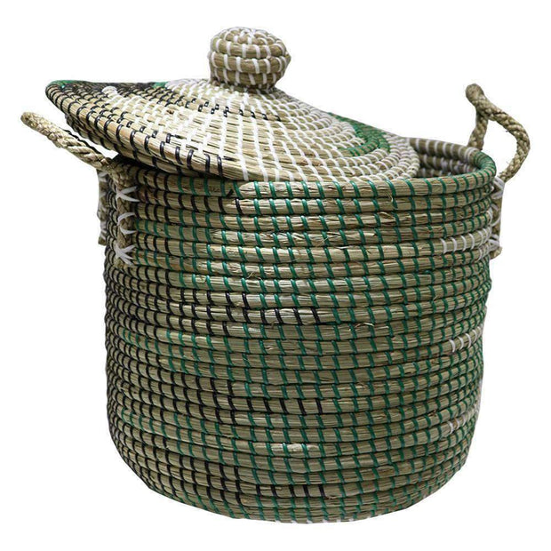 Mekong Seagrass Laundry Hamper With Lid 32cm | Laundry Baskets | The Design Store NZ