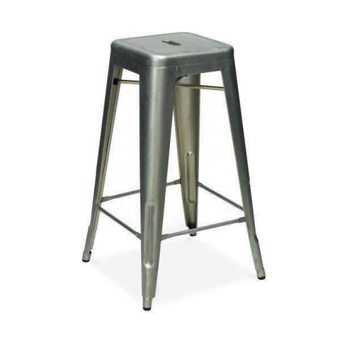 Replica Tolix Barstool Matte Galvanised Plain Steel | Barstools | The Design Store NZ