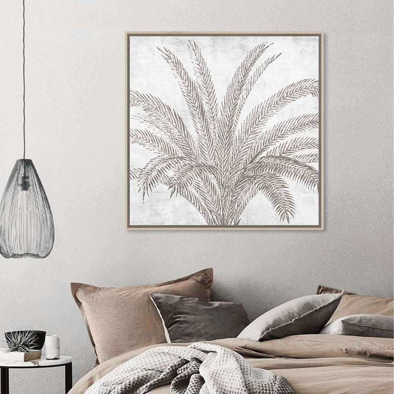 Framed Canvas Palm Line Drawn Beige | Wall Art | The Design Store NZ