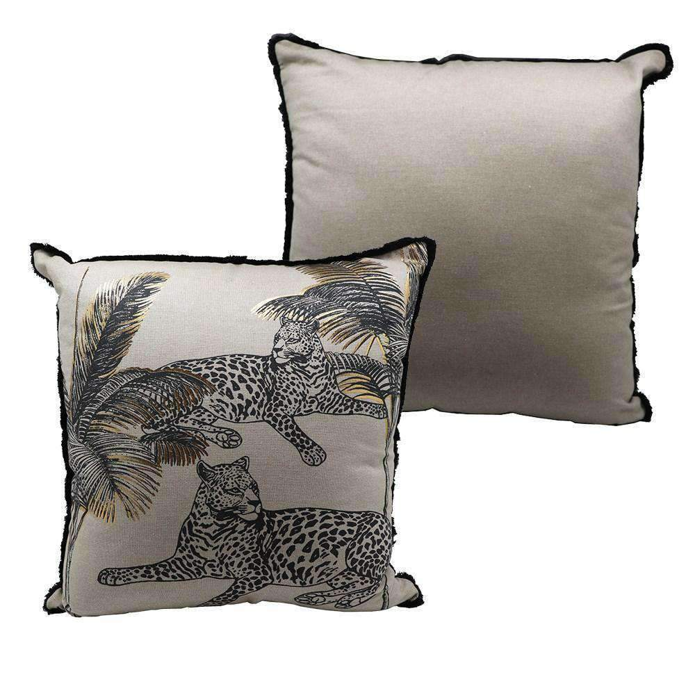 Relaxing Leopard Printed Cushion with Foil and Fringe | Cushions | The Design Store NZ