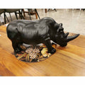 Rhino -Matt Black Ceramic 46cm | Sculptures | The Design Store NZ