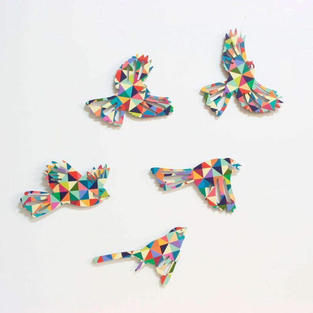 Wall Art Flying Flock Fantails Geometric | Wall Art | The Design Store NZ