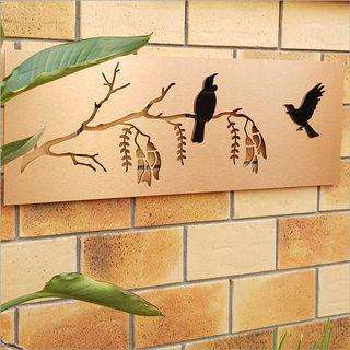 Large Panel 2tone - Copper Panel + Black Birds | Wall Art | The Design Store NZ