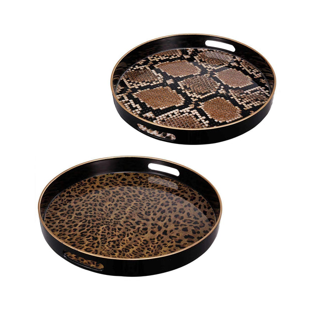 Quinn Round Trays Safari Set of Two Safari | Serving Trays | The Design Store NZ