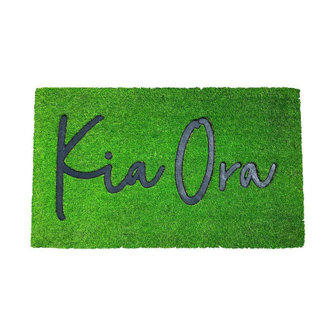 Coir Mat Kia Ora Grass Green | Doormats | The Design Store NZ
