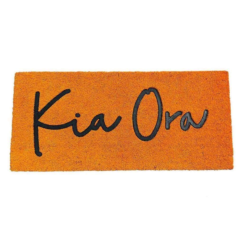 Coir Mat Kia Ora Kowhai Dark Rust Yellow 110cmx50cm | Doormats | The Design Store NZ