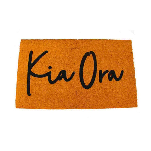 Coir Mat Kia Ora Kowhai Dark Rust Yellow | Doormats | The Design Store NZ