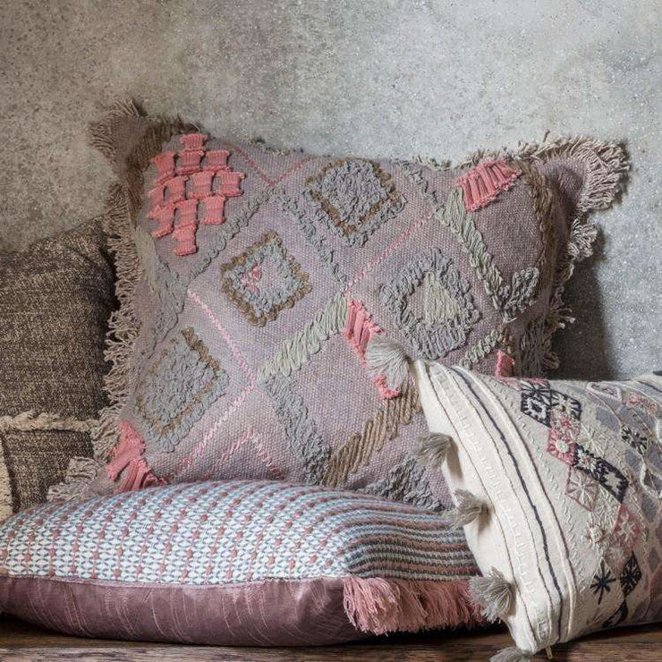 Farha Dusky Blush Embroidered Cushion - The Design Store NZ