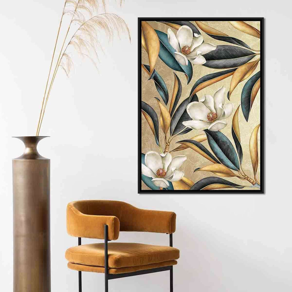 PRE ORDER 3 Flower Beige Grey With Black Frame | Wall Art | The Design Store NZ