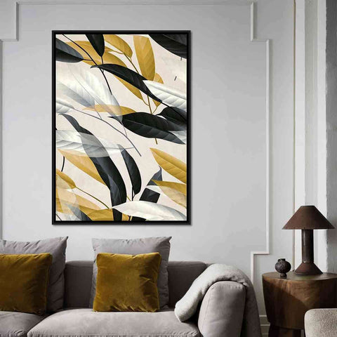 Black Gold White Leaf | Wall Art | The Design Store NZ