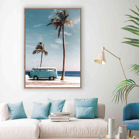 PRE ORDER Blue VW Beach | Wall Art | The Design Store NZ