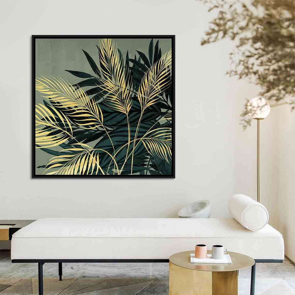 Gold Ferns And Green Leaf | Wall Art | The Design Store NZ